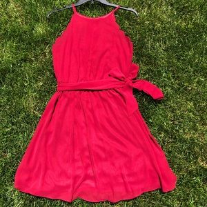 Simple Red Dress with Removable Belt